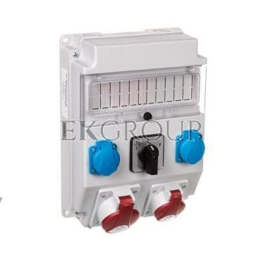 Rozdzielnica 1x32A 5P/ 1x16A 5P 2x250V okienko wyłącznik L-0-P IP54 ROS 11/X-21.2/L-0-P-197311