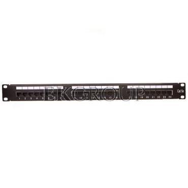 Patch panel kompletny 19 cali 24x RJ45 U/UTP kat. 5e czarny (RAL 9005) z tacką DN-91524U-EC-191031