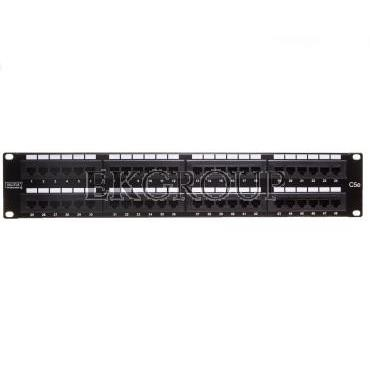Patch panel kompletny 19 cali 48x RJ45 U/UTP kat. 5e 2U czarny (RAL 9005) DN-91548U-191033