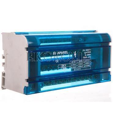Blok rozdzielczy 4-torowy 1x11,5mm2 3x8,5mm2 8x7mm2 160A EBR2 4-12/160 R33RA-02020300501-196007