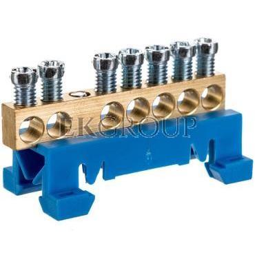 Zacisk przyłączeniowy na TS35, neutralny N, 7-polowy, 7x16mm2 870N/7 niebieski 89810003-199858