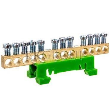 Zacisk przyłączeniowy na TS35, ochronny PE, 12-polowy, 12x16mm2 870S/12 zielony 89813005-199861