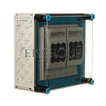 Skrzynka 300x300x170mm IP65 z rozłącznikami bezpiecznikowymi 2 x NH00 3P pokrywa przezroczysta Mi 86265 HPL00464-196841
