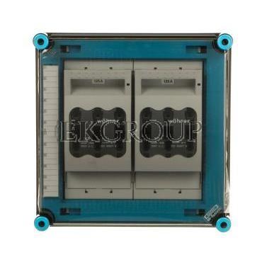 Skrzynka 300x300x170mm IP65 z rozłącznikami bezpiecznikowymi 2 x NH00 3P pokrywa przezroczysta Mi 86265 HPL00464-196842