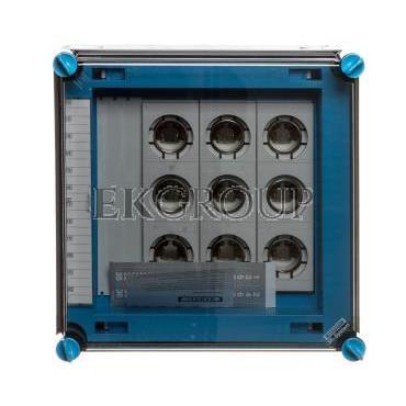 Skrzynka 300x300x182mm IP65 bezpiecznikowa 63A 500V z zaciskami PE N pokrywa przezroczysta Mi 83260 HPL00065-196849