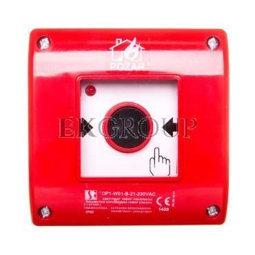 Przycisk ppoż. natynkowy 2Z 1R czerwony OP1-W01-B-21-230VAC-199643