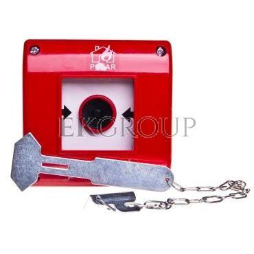 Przycisk przeciwpożarowy natynkowy 1Z czerwony z młotkiem OP1-W01-A\10-M-199640