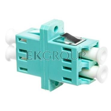 Adapter LC/LC duplex MM OM3, ceramiczna ferrula, błękitny DN-96009-1-191108