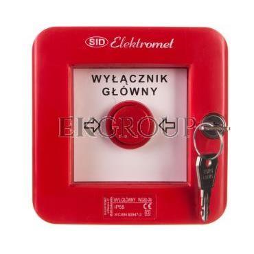 Wyłącznik alarmowy z zamkiem 2Z 12A /WYŁĄCZNIK GŁÓWNY/ IP55 WGZp-2s 921541-199671