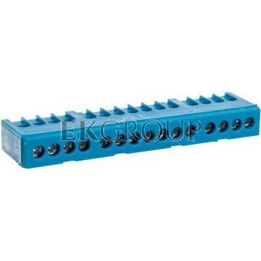 Zacisk przyłącz na TS35 izolowany neutralny N 15-polowy 15x16mm2 niebieski 870N-15FS 89824003-199864
