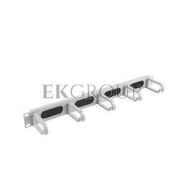 Organizer kabli 19'' 1U z 5 uchwytami typ B   panel szczotkowany szary AK-1203-S-191175