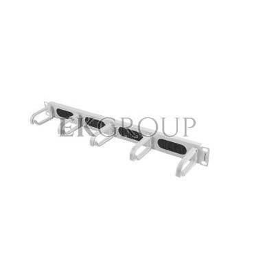 Organizer kabli 19'' 1U z 5 uchwytami typ B   panel szczotkowany szary AK-1203-S-191176