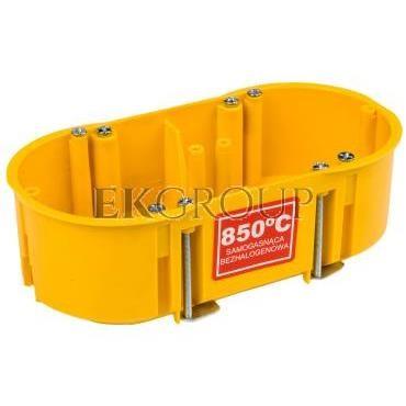 Puszka podtynkowa podwójna 60mm regips samogasnąca żółta PK-2x60 0210-0N-211101