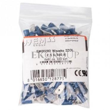 Wtyk konektorowy izolowany 1,5-2,5mm2 6,3x0,8 PVC WKI2,5/6,3/0,8 /100szt./-210921