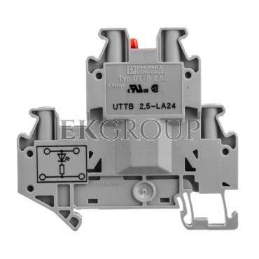 Złączka szynowa elementów kontrolnych 2-piętrowa 4-przewodowa 2,5mm2 szara UTTB 2,5-LA 24 R 3046692-214930