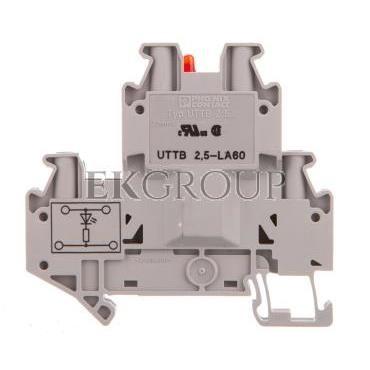 Złączka szynowa elementów kontrolnych 2-piętrowa 4-przewodowa 2,5mm2 szara UTTB 2,5-LA 60 R 3046702-214931