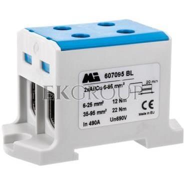 Złączka szynowa 2-torowa 16-95mm2 niebieska EURO multiOTL 95 2xAl/Cu 607095 BL-214692