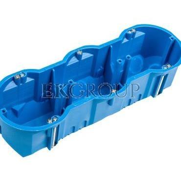 Puszka podtynkowa potrójna 60mm regips głęboka niebieska P3x60D 32104203-211093