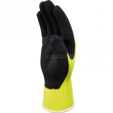 Rękawice dziane z poliestru fluorescencyjnego powlekane pianką lateksową żółto-czarne rozmiar 9 VV73309-217379