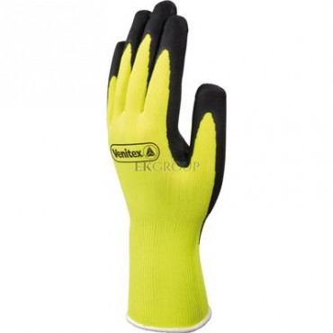 Rękawice dziane z poliestru fluorescencyjnego powlekane pianką lateksową żółto-czarne rozmiar 9 VV73309-217380