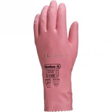 Rękawice gospodarcze gumowe lateksowe flokowane długość 30 cm różowe rozmiar 9 VE210RO09-217382