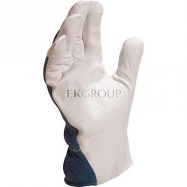 Rękawice z koziej skóry strona grzbietowa z dżerseju biało-niebieskie rozmiar 10 CT402BL10-217383