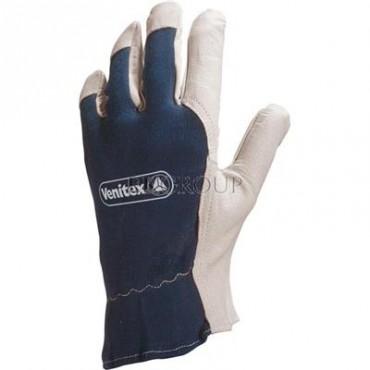 Rękawice z koziej skóry strona grzbietowa z dżerseju biało-niebieskie rozmiar 10 CT402BL10-217384