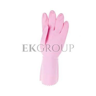 Rękawice gospodarcze z lateksu flokowane różowe rozmiar 8,5 ZEPHIR 210 VE210RO08-217444
