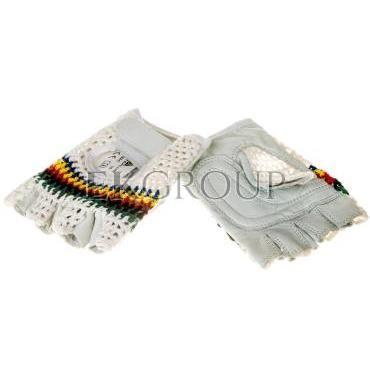 Rękawice bez palców ze skóry licowej jagnięcej, strona grzbietowa z dzianiny rozmiar 8 50MAC08-217393