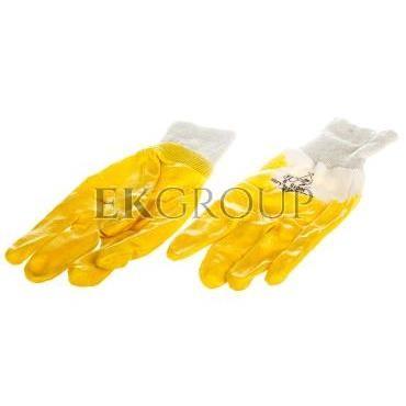 Rękawice z lekkiego Nitrylu na wkładzie z dżerseju, góra wentylowana biało-żółte rozmiar 9 NI01509-217405