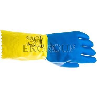 Rękawice gospodarcze z lateksu, flokowane, długość 30 Cm, Gr. 0,60 Mm niebiesko-żółte rozmiar 7,5 VE330BJ07-217440