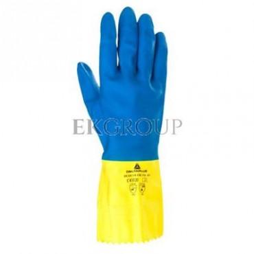 Rękawice gospodarcze z lateksu, flokowane, długość 30 Cm, Gr. 0,60 Mm niebiesko-żółte rozmiar 8,5 VE330BJ08-217411