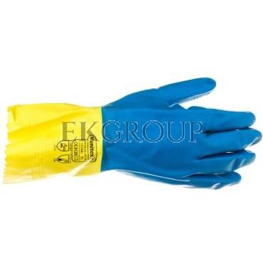 Rękawice gospodarcze z lateksu, flokowane, długość 30 Cm, Gr. 0,60 Mm niebiesko-żółte rozmiar 9,5 VE330BJ09-217441