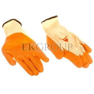 Rękawice dziane z poliestru i bawełny, dłoń i końce palców powlekane Lateksem, ścieg 10 żółto-pomarańczowe rozmiar 8 VE730OR08-2