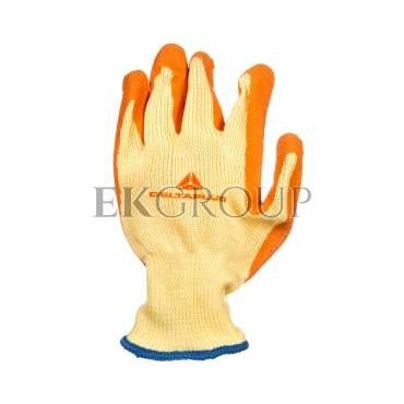 Rękawice dziane z poliestru i bawełny, dłoń i końce palców powlekane Lateksem, ścieg 10 żółto-pomarańczowe rozmiar 10 VE730OR10-