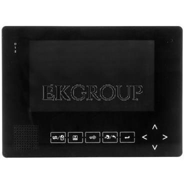 Wideodomofon 7cali kolorowy z pamięcią, port SD, plastik/aluminium, czarny   zasilacz MK-08B-218429