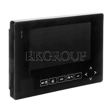 Wideodomofon 7cali kolorowy z pamięcią, port SD, plastik/aluminium, czarny   zasilacz MK-08B-218430