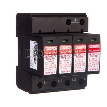 Ogranicznik przepięć typ 1/2 4P 12,5kA 1,2kV 335V AC VAL-MS-T1/T2 335/12.5/4 0 2800645-216494