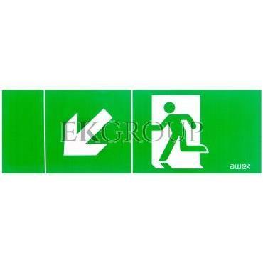 Piktogram 100x300 PM22 obrotowa strzałka człowiek w drzwiach logo awex (ISO7010)-205727