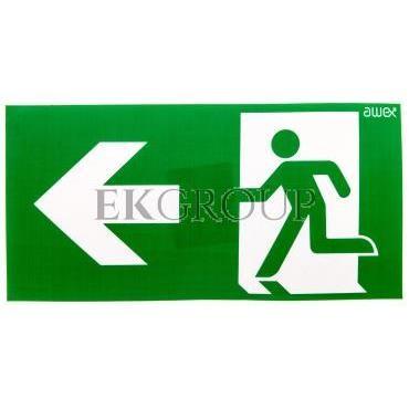 Piktogram 125x250 PS24 strzałka lewo człowiek w drzwiach logo awex (ISO7010)-205739