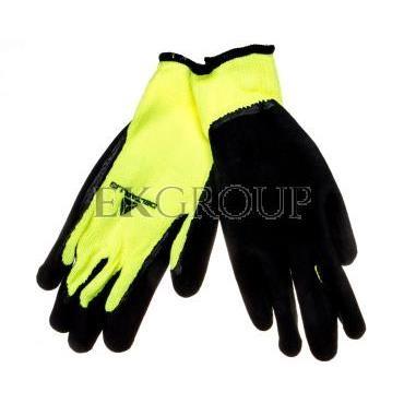 Rękawice dziane z akrylu, dłoń powlekana pianką lateksową, ścieg 10 9 żółte fluo-czarne VV735JA09-217435