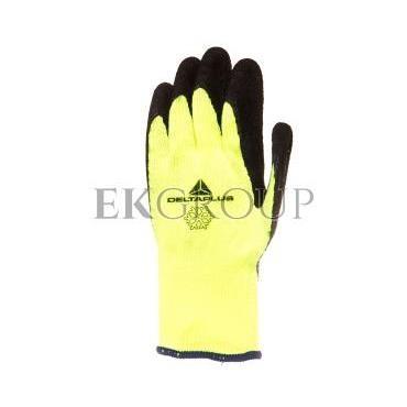 Rękawice dziane z akrylu, dłoń powlekana pianką lateksową, ścieg 10 10 żółte fluo-czarne VV735JA10-217436