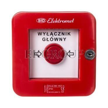 Wyłącznik alarmowy samoczynny natynkowy z zamkiem WGZ-1s IP-55 921490-216971