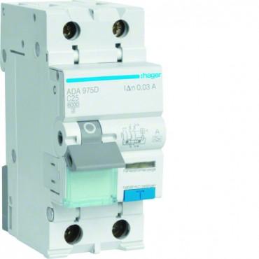 Wyłącznik różnicowo-nadprądowy 2P 25A C 0,03A typ A ADA975D