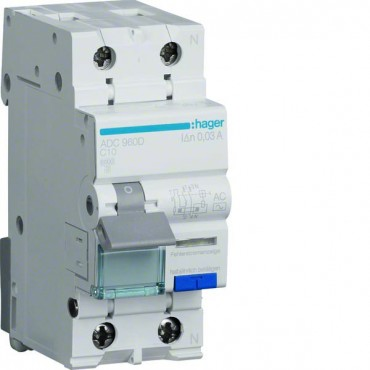 Wyłącznik różnicowo-nadprądowy 2P 10A C 0,03A typ AC ADC960D