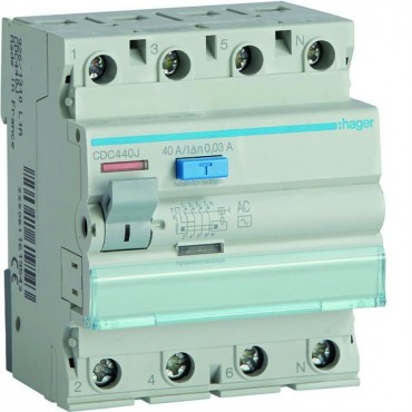 Wyłącznik różnicowoprądowy 4P 40A 0,03A typ AC CDC440J