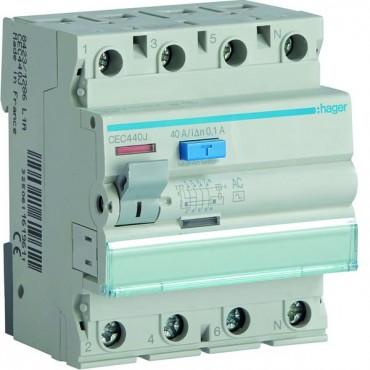Wyłącznik różnicowoprądowy 4P 40A 0,1A typ AC CEC440J
