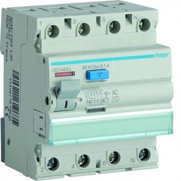 Wyłącznik różnicowoprądowy 4P 63A 0,1A typ AC CEC463J