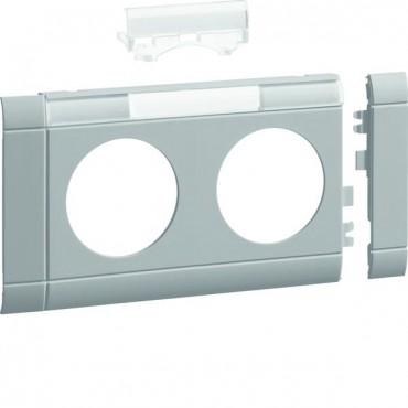 Maskownica z polem opisowym 2-krotna ABS bezhalogenowe (HFR) jasnoszary GB080217035