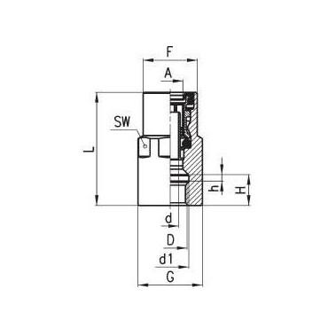 Złączka wtykowa C-TRUCK prosta z gwintem wewnętrznym model 9463